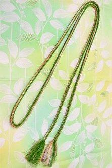 正絹帯揚・帯締セット(テンダーグリーン・ボタニカル)