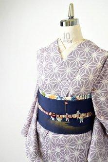 紫に麻の葉模様美しい交織紬の単着物