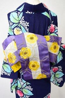 七宝梅花ボーダー美しい半幅帯(藤山吹)