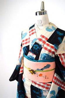 市松チェック水辺風景美しいアンティーク単着物