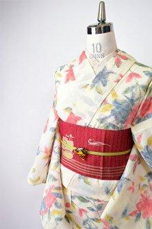 クリームイエローにヨーロピアンフラワー美しいサマーウール単着物