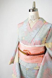 デイジーのような菊花のようなカラフル花重ね愛らしい正絹紬の単着物