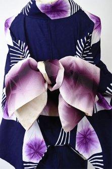 紫ぼかしに麻の葉ジオメトリックモダンな半幅帯