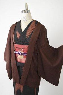 青海波文様美しい猫の羽織紐付き紋竪絽の薄羽織