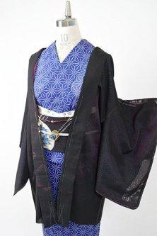 ピンクルージュブラックに花菱亀甲文様美しい猫の羽織紐付き紗の薄羽織