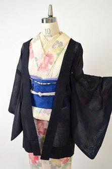 ブルーブラックに花束文様美しい猫の羽織紐付き紗の薄羽織