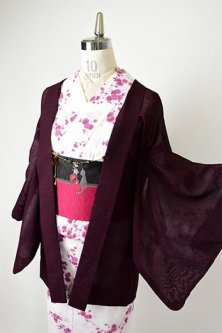 マルーンカラーに木の葉と木の実モダンな紗の薄羽織