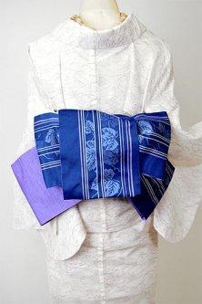 ロイヤルブルーに縞と蔦葉文様モダンな半幅帯