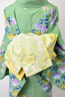 夢二好みの椿ボーダー美しい半幅帯(たまご色)