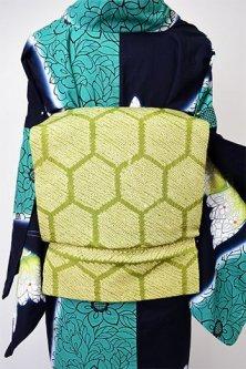 抹茶グリーン亀甲文様小粋な本絞りつくり帯