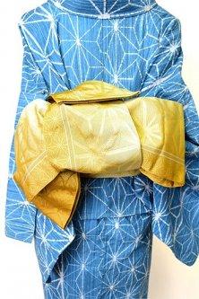 麻の葉縞と青海波モダンな半幅帯(芥子色)