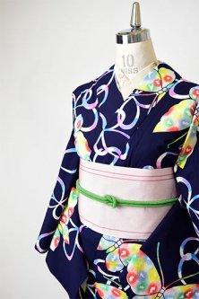 紺色地に虹色ぼかし蝶々ノスタルジックキュートな注染レトロ浴衣