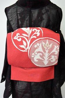 ポピールージュにチェコ刺繍のような花アラベスク丸文様愛らしい絽の夏帯