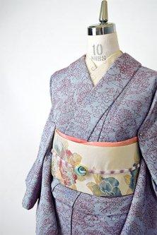 ブルーグレーとルビーレッドのボタニカルデザイン美しいウール単着物