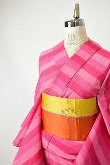 ポピールージュピンクのボーダーデザインモダンなサマーウール単着物