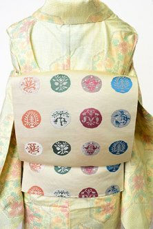 紋章水玉と独鈷縞の博多織リバーシブル開き名古屋帯