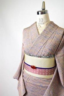 ミストラベンダーのカモフラージュのようなデザインモダンな両面染単着物