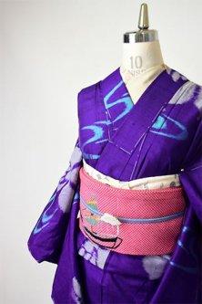 青紫に流水杜若美しいアンティーク銘仙袷着物
