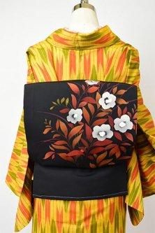 黒地にセピアカラーのフラワーモチーフ美しい染め名古屋帯