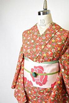 ルージュオレンジに花アラベスク染め模様美しいウール単着物