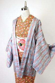 編みぼかしグレー絣にスリーラインチェックモダンな正絹紬羽織