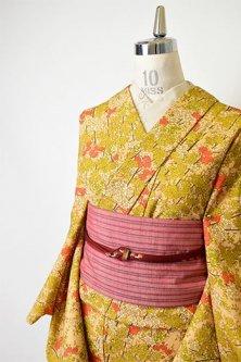 青朽葉色と緋の桜花枝美しいウール単着物