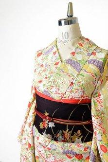 象牙色地に御所解風四季の草花風景模様美しい正絹縮緬袷着物
