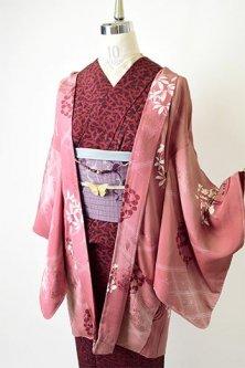 花扇と蝶々地紋オールドローズに業平菱と花丸文様美しいアンティーク羽織