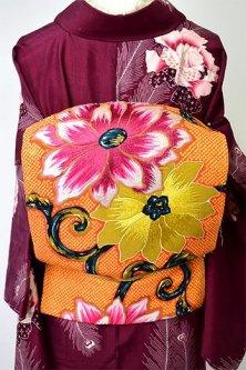 鹿の子に鉄線アラベスク美しい本刺繍アンティーク名古屋帯