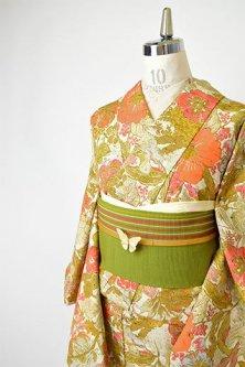 古更紗のような鳥と花のボタニカルデザイン美しいしょうざんウール袷着物
