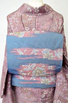 スレートブルーグレーに更紗の古裂のような装飾模様ロマンチックな洒落袋帯