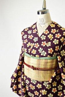 濃茶色地にカラフル梅花模様愛らしいウール紬単着物