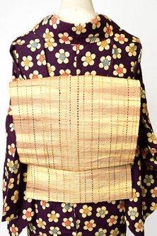 ベージュとブラウンの霞織りにステッチのような縞ナチュラルモダンな正絹紬開き名古屋帯
