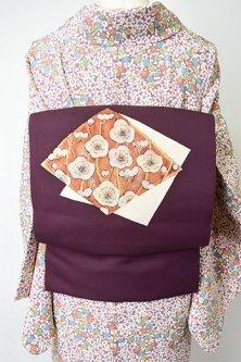 葡萄酒色地に夢二好みの梅の花菱色紙文様美しい正絹塩瀬名古屋帯