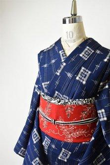 紺地にツバメ絣縞小粋な正絹紬袷着物