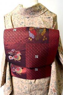 ガーネットルージュに鳥と果樹のオリエンタル市松パターンモダンな正絹洒落袋帯