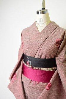 ワインレッド鹿の子に花桐の刺繍美しいウール単着物