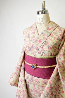 パステルカラーネップにメルヘンチックデザイン愛らしいウール単着物