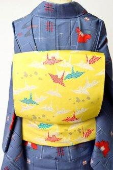 クリームレモンイエローに折り鶴の染模様愛らしい名古屋帯