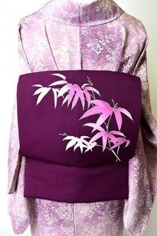 紅紫に笹の葉さやと美しい正絹塩瀬染名古屋帯