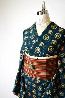しだれ縞高麗納戸地に古典並び文様美しい正絹袷着物