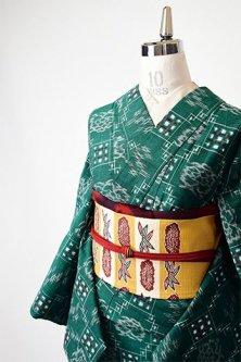 高麗納戸色地に花幾何学絣文様小粋な綿紬単着物