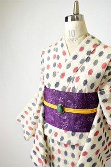 クリーム色に亀甲水玉モダンなサマーウール単着物