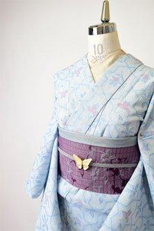 アイスブルーにモロッカンタイルのような花幾何学モダンなサマーウール単着物