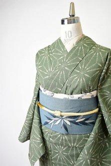 柳煤竹緑に麻の葉文様小粋な正絹紬単着物