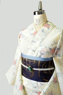 クリームイエローに花いばらのようなフラワーモチーフロマンチックなサマーウール単着物