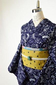 紺と白のポーランド陶器のような鳥アラベスク愛らしい注染レトロ浴衣