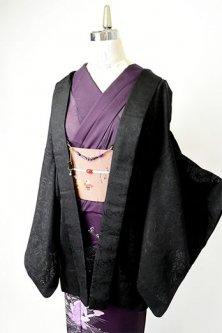 波アラベスクロマンチックな紗の薄羽織(猫の羽織紐付き)