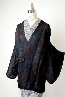 ブラックに藤の花房のような立涌縞美しい洗える絽のガウンコート