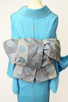 編みかご水玉モダンな半幅帯(グレーとブルー)